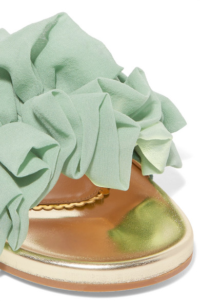 Naia Ruffled Organza And Metallic Leather Slides - Mint Charlotte Olympia j3T7oiDPi