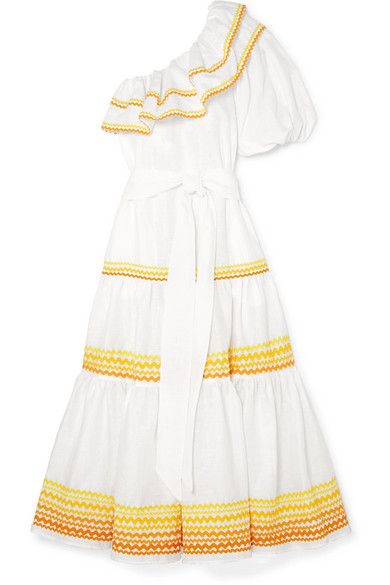 Arden One-Shoulder Ric-Rac Trim Dress, White