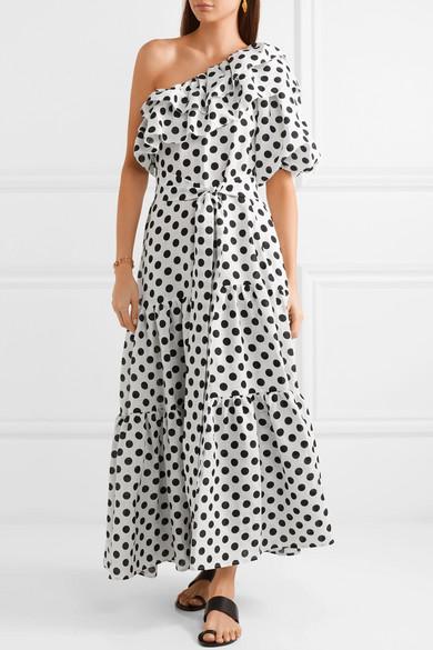 Arden Ruffled One-shoulder Polka-dot Linen Maxi Dress - White Lisa Marie Fernandez t4PFO