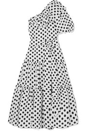 Arden ruffled one-shoulder polka-dot linen dress