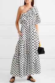 Lisa Marie Fernandez Arden ruffled one-shoulder polka-dot linen maxi dress