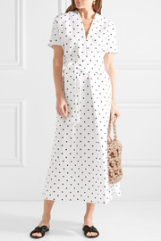 Lisa Marie Fernandez Rosetta embroidered polka-dot linen dress