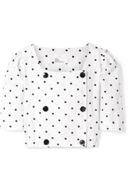 Diana double-breasted embroidered polka-dot linen top