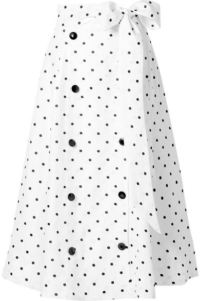 Diana Embroidered Polka-Dot Linen Midi Skirt, White