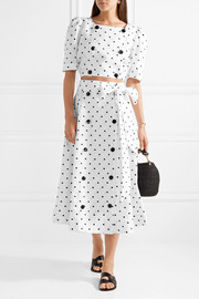 Lisa Marie Fernandez Diana embroidered polka-dot linen midi skirt