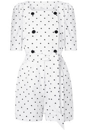Lisa Marie Fernandez Diana double-breasted embroidered polka-dot linen playsuit