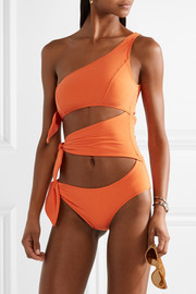 Lisa Marie Fernandez Bianca one-shoulder cutout stretch-crepe swimsuit