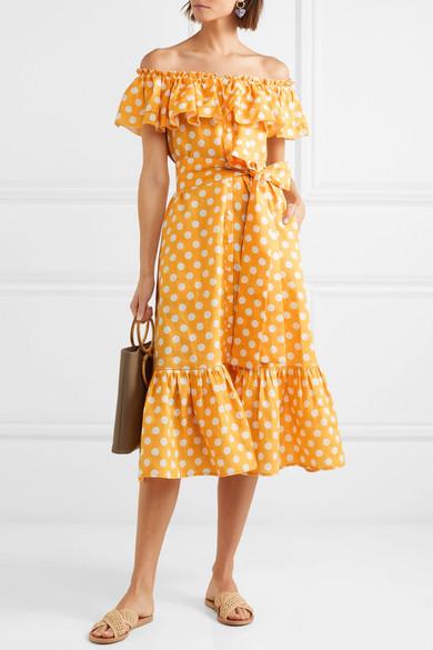 Mira Off-the-shoulder Polka-dot Linen Midi Dress - Orange Lisa Marie Fernandez UFWav