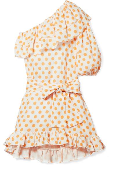 Arden Ruffled One-Shoulder Polka-Dot Linen Mini Dress, Pastel Orange