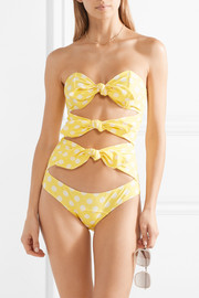 Lisa Marie Fernandez Triple Poppy knotted polka-dot stretch-crepe swimsuit