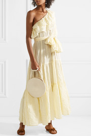 Lisa Marie Fernandez Arden ruffled one-shoulder striped voile maxi dress