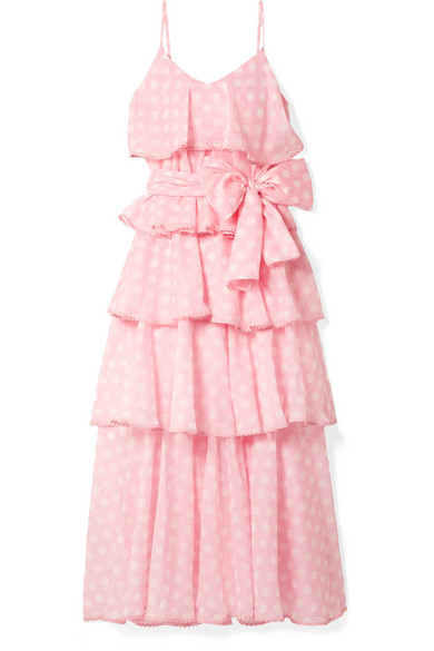 LISA MARIE FERNANDEZ Imaan Tiered Polka-Dot Cotton-Voile Maxi Dress in Pink