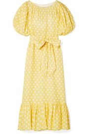 Belted polka-dot linen maxi dress