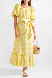 Lisa Marie Fernandez Belted polka-dot linen maxi dress