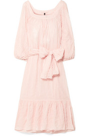 Laure striped crinkled-voile midi dress