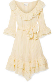 Laura ruffled striped crinkled cotton-voile dress