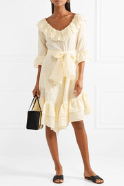 Lisa Marie Fernandez Laura ruffled striped crinkled cotton-voile dress
