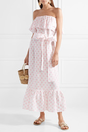 Lisa Marie Fernandez Sabine strapless polka-dot linen maxi dress