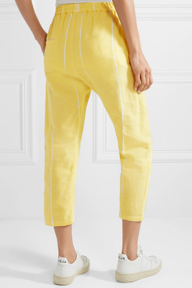 Cropped Cotton-jacquard Pants - Bright yellow Paradised Fake Quality Original Buy Cheap Footlocker Pictures Shopping Online Sale Online Zj4NK