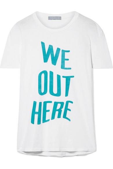 Paradised We Out Here bedrucktes T-Shirt aus Baumwoll-Jersey