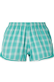 Aina mesh-trimmed checked cotton-gauze shorts