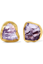 Pippa Small 18-karat gold amethyst earrings