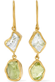 Pippa Small 18-karat gold aquamarine and peridot earrings