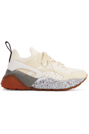 Stella McCartney Eclypse logo-woven neoprene-trimmed faux leather and suede sneakers