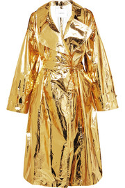 Pushbutton Metallic crinkled-vinyl trench coat