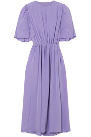 Pushbutton Gathered silk midi dress