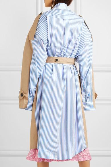 Pushbutton Oversized-Trenchcoat aus Baumwoll-Gabardine und gestreifter Popeline
