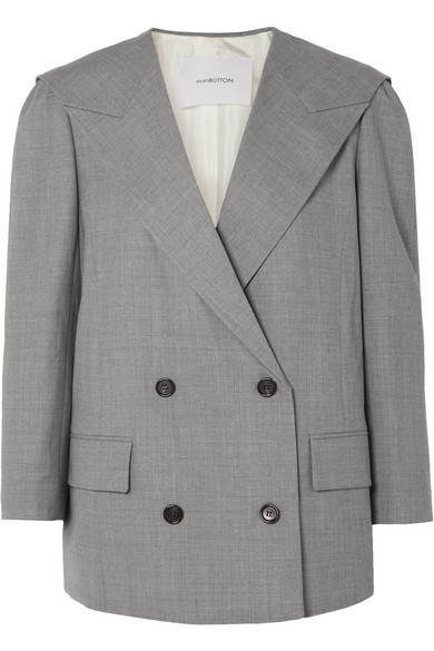 PUSHBUTTON OVERSIZED DOUBLE-BREASTED WOOL BLAZER