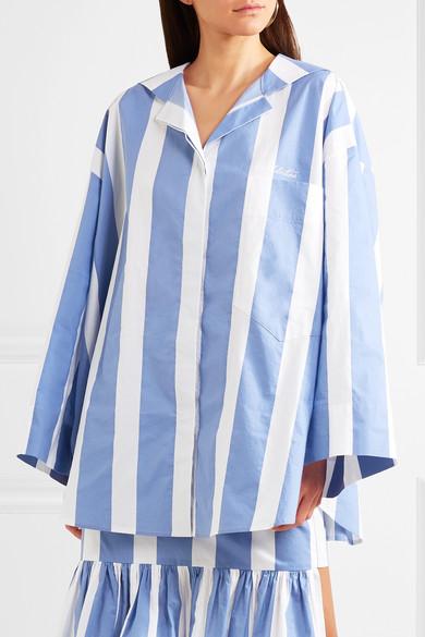 Pushbutton Gestreiftes Oversized-Hemd aus Baumwollpopeline