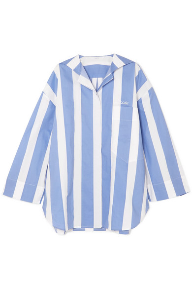 PUSH BUTTON Oversized Striped Cotton-Poplin Shirt in Blue