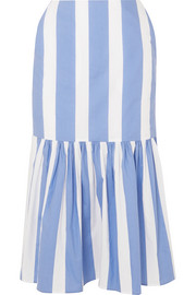 Asymmetric striped cotton-poplin midi skirt