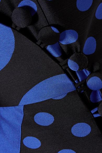 Ronald Van Der Kemp Wickelrobe aus Jacquard aus einer Seidenmischung mit Polka-Dots