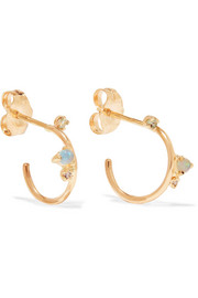Organic 14-karat gold multi-stone hoop earrings