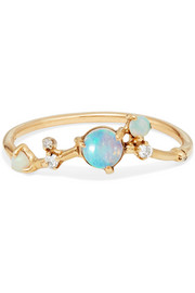 14-karat gold, opal and diamond ring