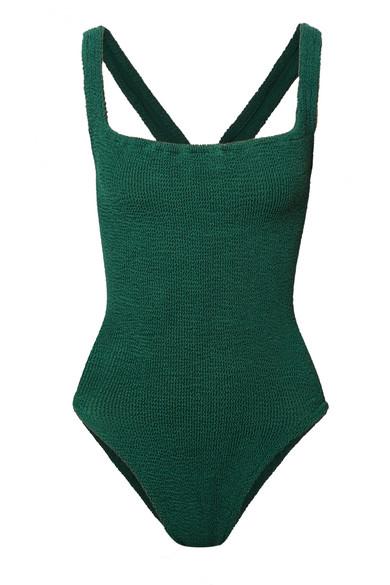 HUNZA G Zora verzierter Badeanzug aus Seersucker
