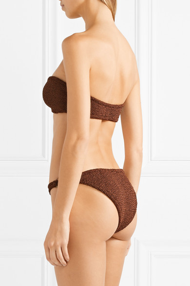 HUNZA G Gloria verzierter Bandeau-Bikini aus Seersucker