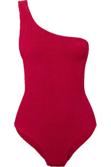 HUNZA G Nancy Badeanzug aus Seersucker mit asymmetrischer Schulterpartie