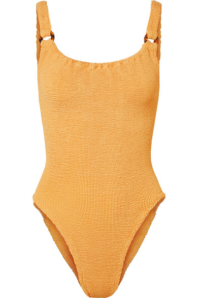 HUNZA G Domino verzierter Badeanzug aus Seersucker