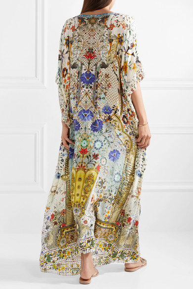 The Butterfly Effect Embellished Printed Silk Crepe De Chine Kaftan - Off-white Camilla dHOSCnWERs