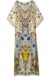 The Butterfly Effect embellished printed silk crepe de chine kaftan