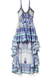 Wings To Fly embellished printed silk crepe de chine maxi dress