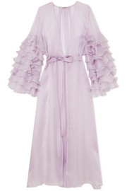 Rosamosario Casino Royale ruffled silk-organza robe