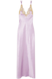Rosamosario Casino Royale metallic lace-trimmed silk-satin nightdress