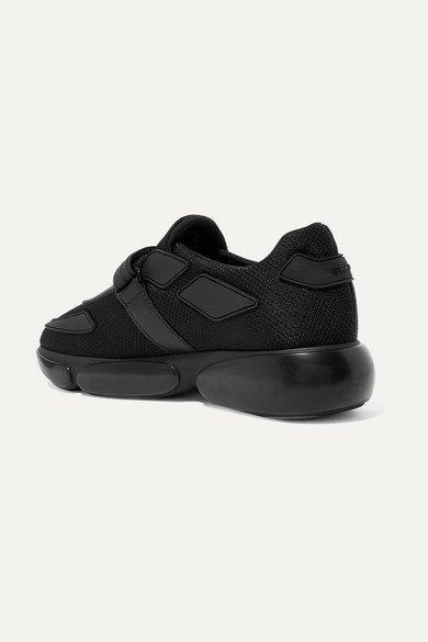 Cloudbust Allacciate Logo-embossed Rubber And Leather-trimmed Mesh Sneakers - Black Prada Cnh7C