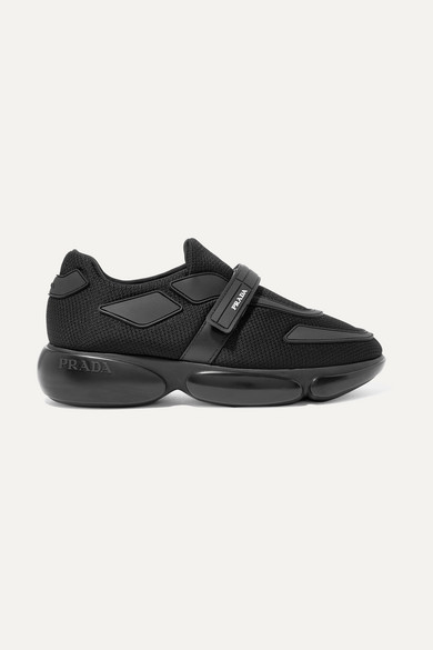Cloudbust Allacciate Logo-Embossed Rubber And Leather-Trimmed Mesh Sneakers in Black