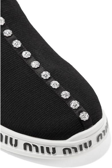 Miu Miu | Sneakers aus Stretch-Strick und und Neopren mit Kristallen und Stretch-Strick Logoprägung bcc83f